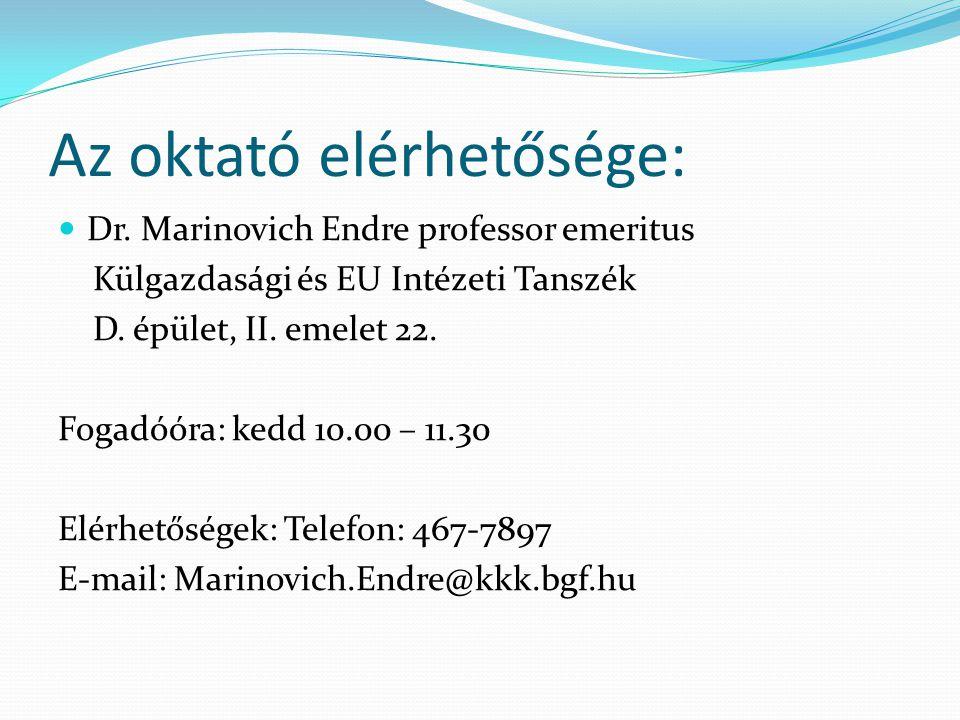 Az oktató elérhetősége:  Dr. Marinovich Endre professor emeritus Külgazdasági és EU Intézeti Tanszék D. épület, II. emelet 22. Fogadóóra: kedd 10.00