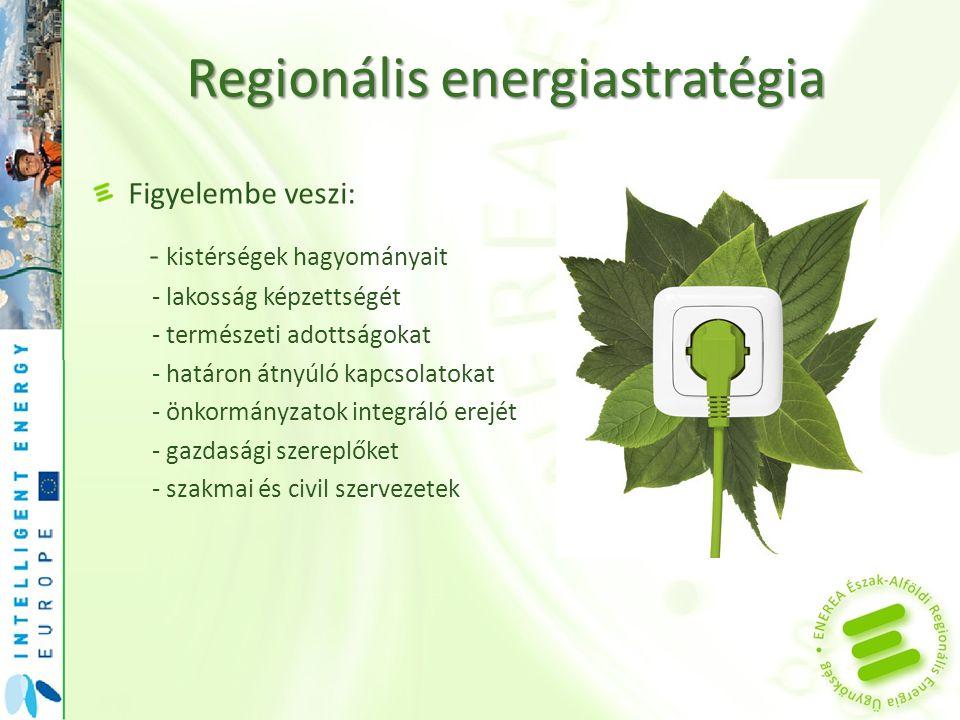 Regionális energiastratégia Figyelembe veszi: - kistérségek hagyományait - lakosság képzettségét - természeti adottságokat - határon átnyúló kapcsolat