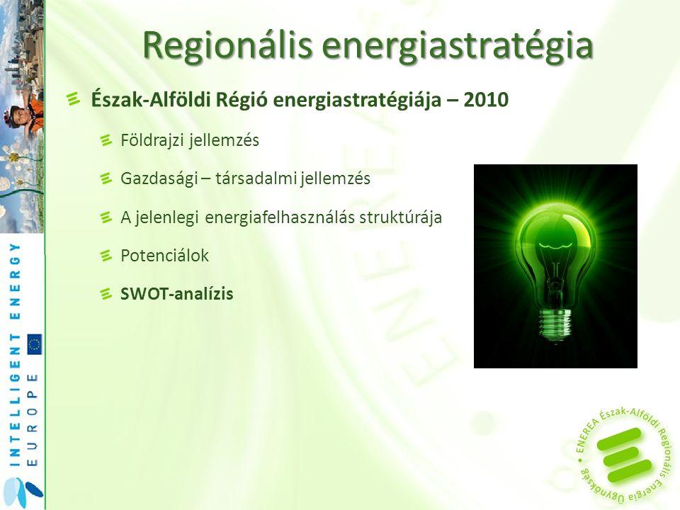 Regionális energiastratégia Észak-Alföldi Régió energiastratégiája – 2010 Földrajzi jellemzés Gazdasági – társadalmi jellemzés A jelenlegi energiafelh