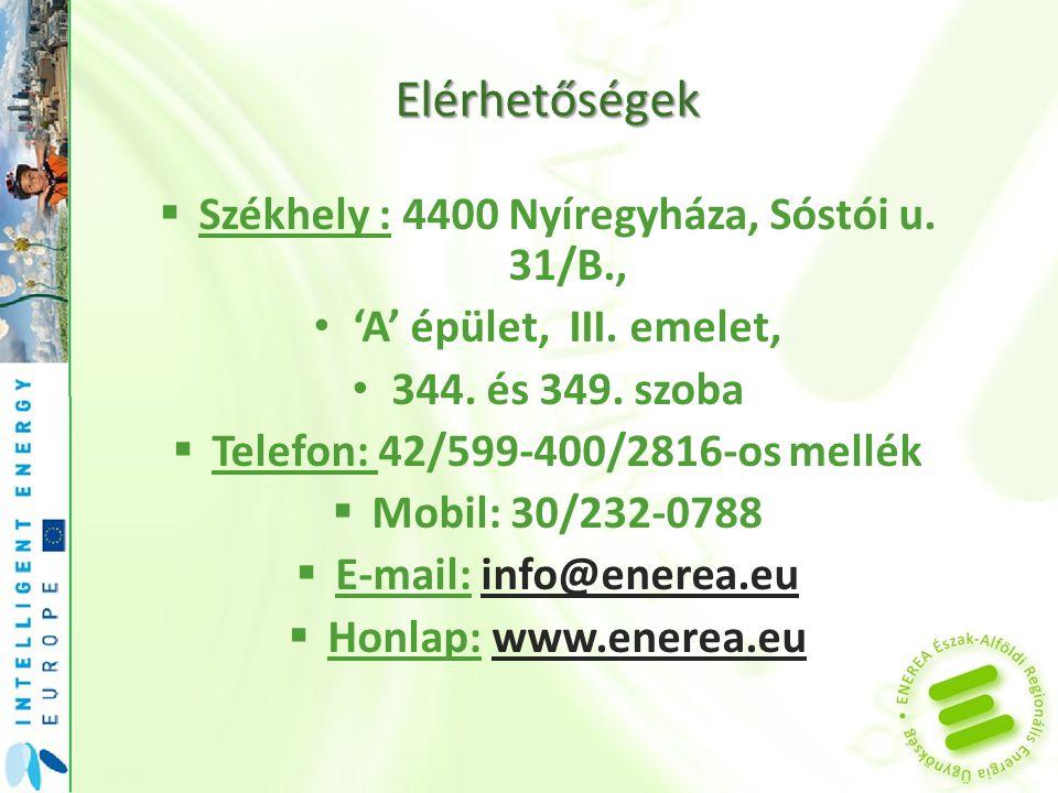 Elérhetőségek  Székhely : 4400 Nyíregyháza, Sóstói u. 31/B., • 'A' épület, III. emelet, • 344. és 349. szoba  Telefon: 42/599-400/2816-os mellék  M