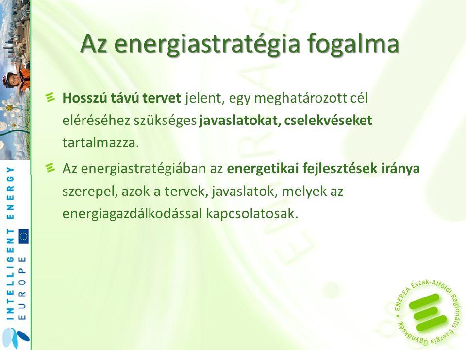 Az energiastratégia fogalma Hosszú távú tervet jelent, egy meghatározott cél eléréséhez szükséges javaslatokat, cselekvéseket tartalmazza. Az energias