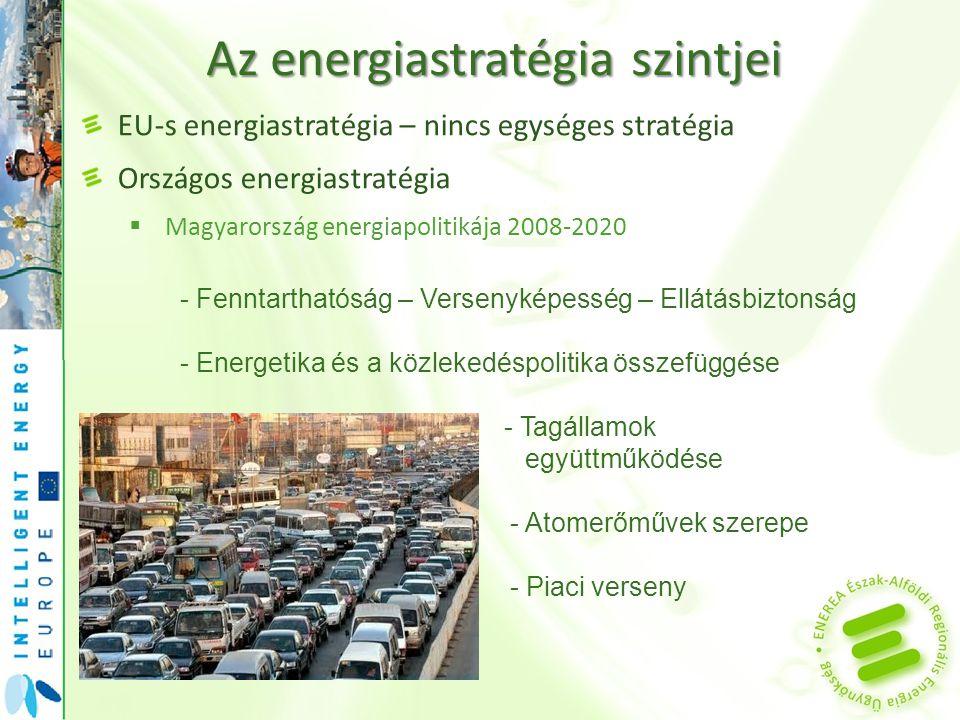 """Az energiastratégia szintjei EU-s energiastratégia – nincs egységes stratégia Országos energiastratégia  Magyarország energiapolitikája 2008-2020  Megújuló Stratégia - Célérték meghatározás: BAU (""""Business as usual ) & Policy - A megújulók hasznosítása: energiapolitikai, versenyképességi, környezetvédelmi, vidékfejlesztési kérdés."""