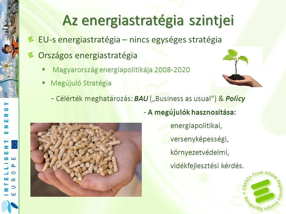 Az energiastratégia szintjei EU-s energiastratégia – nincs egységes stratégia Országos energiastratégia  Magyarország energiapolitikája 2008-2020  Megújuló Stratégia  Magyarország fenntartható energiastratégiája  Nemzeti Cselekvési Terv Regionális energiastratégia  Észak-Alföldi Regionális Energiastratégia – www.enerea.eu Kistérségi energiastratégia  Hajdúszoboszlói kistérség hosszú távú energiastratégiája 2010-2020 Települési energiastratégia  Nagyhegyes hosszú távú energiastratégiája 2010-2020