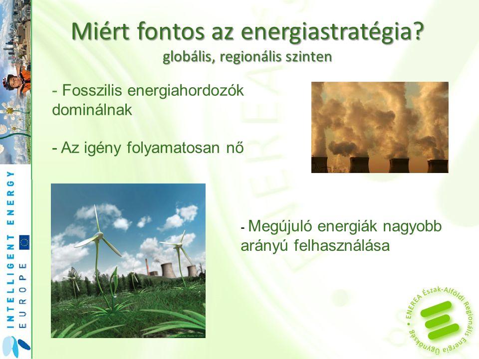 Miért fontos az energiastratégia? globális, regionális szinten - Fosszilis energiahordozók dominálnak - Az igény folyamatosan nő - Megújuló energiák n