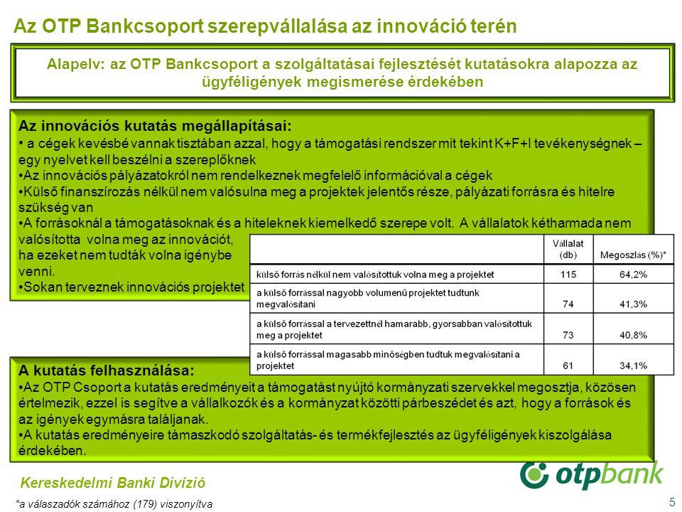 5 Alapelv: az OTP Bankcsoport a szolgáltatásai fejlesztését kutatásokra alapozza az ügyféligények megismerése érdekében Az OTP Bankcsoport szerepválla