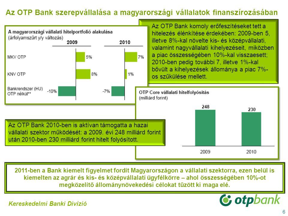 6 2011-ben a Bank kiemelt figyelmet fordít Magyarországon a vállalati szektorra, ezen belül is kiemelten az agrár és kis- és középvállalati ügyfélkörr