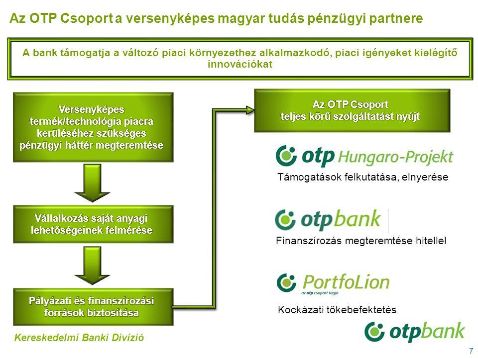 7 A bank támogatja a változó piaci környezethez alkalmazkodó, piaci igényeket kielégítő innovációkat Az OTP Csoport a versenyképes magyar tudás pénzüg
