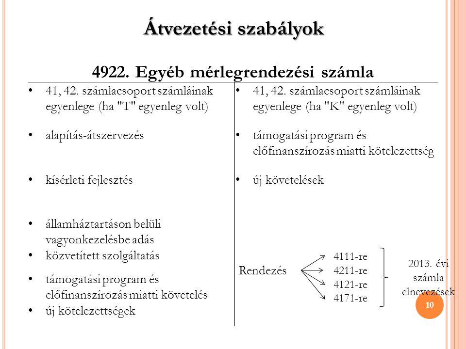 4922. Egyéb mérlegrendezési számla • 41, 42. számlacsoport számláinak egyenlege (ha