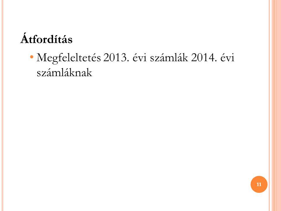 Átfordítás • Megfeleltetés 2013. évi számlák 2014. évi számláknak 11