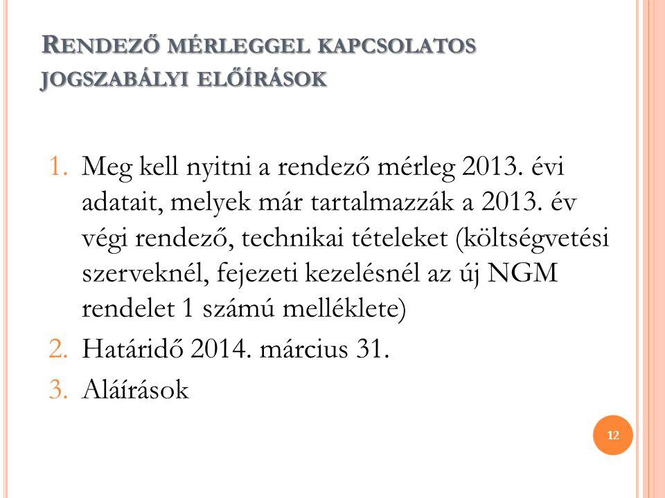 R ENDEZŐ MÉRLEGGEL KAPCSOLATOS JOGSZABÁLYI ELŐÍRÁSOK 1.Meg kell nyitni a rendező mérleg 2013. évi adatait, melyek már tartalmazzák a 2013. év végi ren