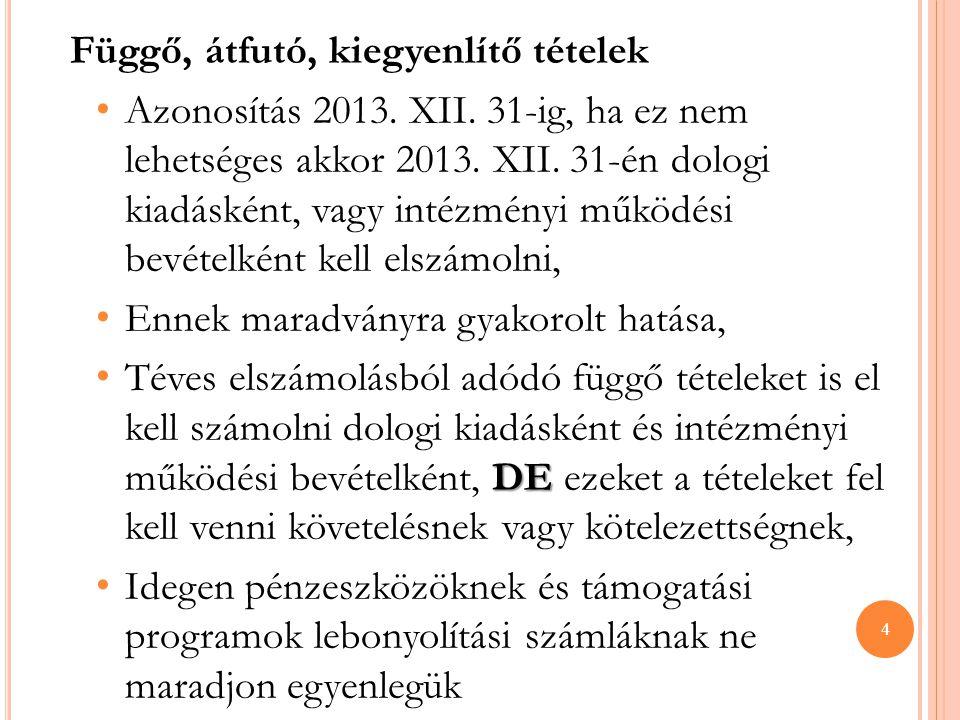 Függő, átfutó, kiegyenlítő tételek • Azonosítás 2013. XII. 31-ig, ha ez nem lehetséges akkor 2013. XII. 31-én dologi kiadásként, vagy intézményi működ