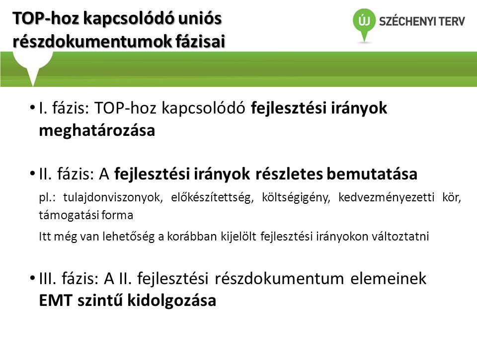 TOP-hoz kapcsolódó uniós részdokumentumok fázisai • I. fázis: TOP-hoz kapcsolódó fejlesztési irányok meghatározása • II. fázis: A fejlesztési irányok