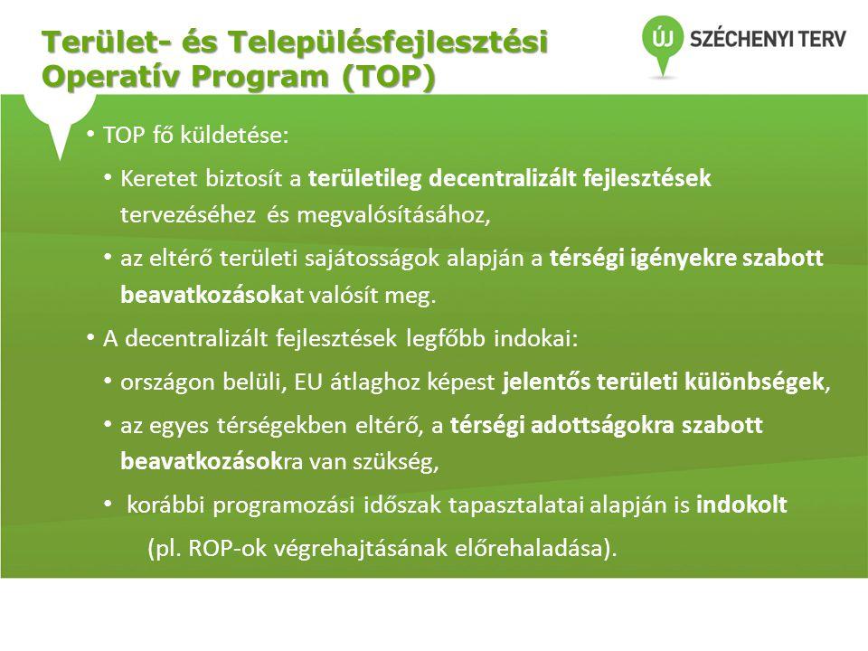 Terület- és Településfejlesztési Operatív Program (TOP) • TOP fő küldetése: • Keretet biztosít a területileg decentralizált fejlesztések tervezéséhez