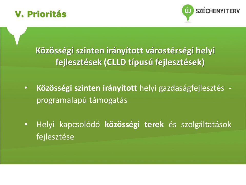 V. Prioritás Közösségi szinten irányított várostérségi helyi fejlesztések (CLLD típusú fejlesztések) • Közösségi szinten irányított helyi gazdaságfejl