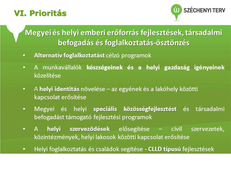 VI. Prioritás Megyei és helyi emberi erőforrás fejlesztések, társadalmi befogadás és foglalkoztatás-ösztönzés • Alternatív foglalkoztatást • Alternatí