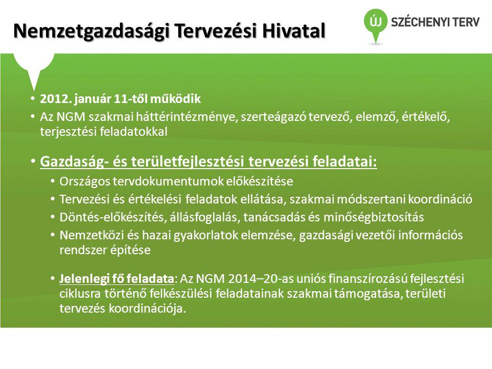 Nemzetgazdasági Tervezési Hivatal • 2012. január 11-től működik • Az NGM szakmai háttérintézménye, szerteágazó tervező, elemző, értékelő, terjesztési