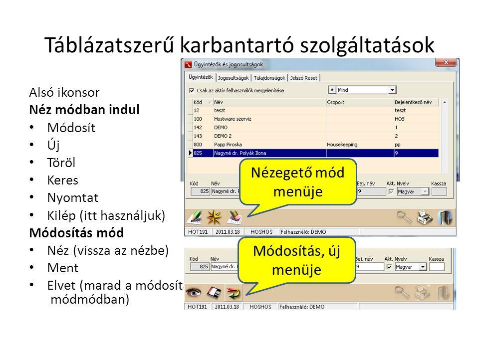 Táblázatszerű karbantartó szolgáltatások Alsó ikonsor Néz módban indul • Módosít • Új • Töröl • Keres • Nyomtat • Kilép (itt használjuk) Módosítás mód