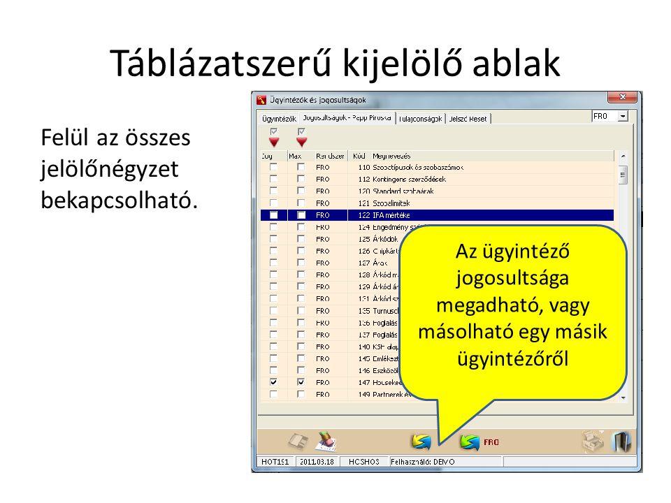 Táblázatszerű kijelölő ablak Felül az összes jelölőnégyzet bekapcsolható. Az ügyintéző jogosultsága megadható, vagy másolható egy másik ügyintézőről