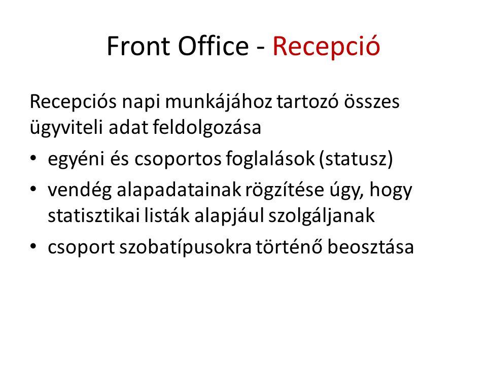 Front Office - Recepció Recepciós napi munkájához tartozó összes ügyviteli adat feldolgozása • egyéni és csoportos foglalások (statusz) • vendég alapadatainak rögzítése úgy, hogy statisztikai listák alapjául szolgáljanak • csoport szobatípusokra történő beosztása
