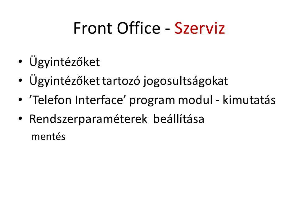 Front Office - Szerviz • Ügyintézőket • Ügyintézőket tartozó jogosultságokat • 'Telefon Interface' program modul - kimutatás • Rendszerparaméterek beállítása mentés
