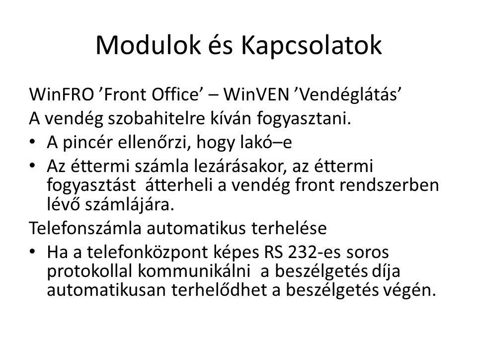 Modulok és Kapcsolatok WinFRO 'Front Office' – WinVEN 'Vendéglátás' A vendég szobahitelre kíván fogyasztani.
