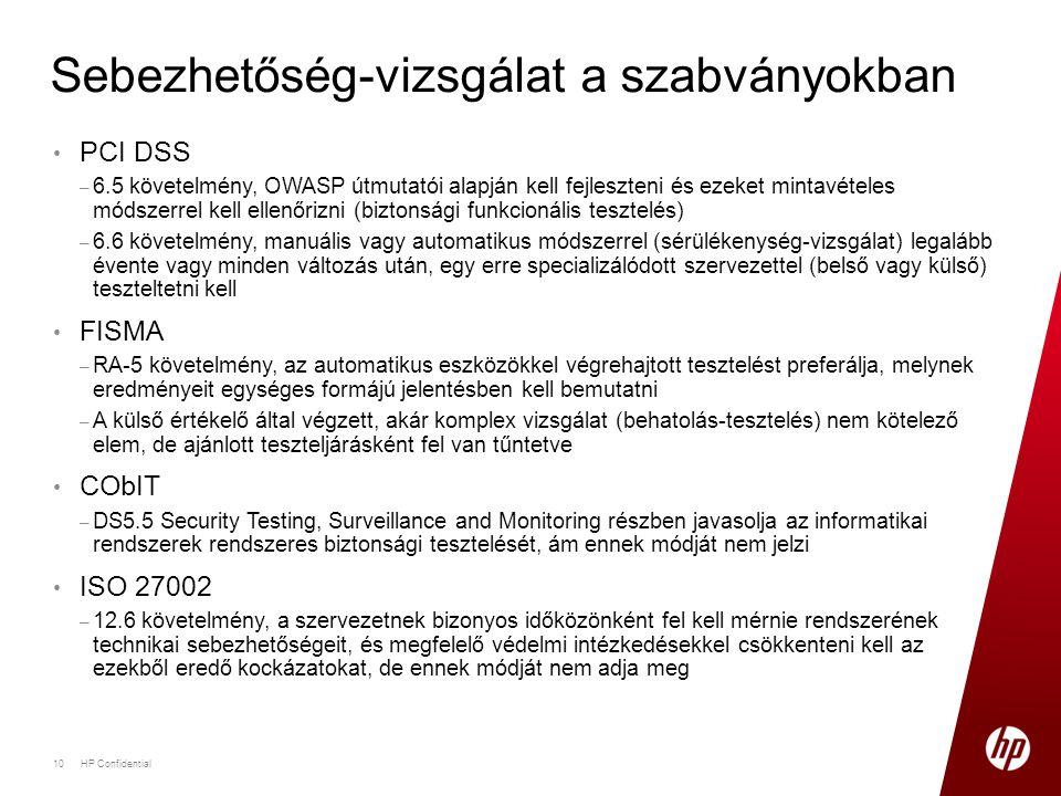 • PCI DSS – 6.5 követelmény, OWASP útmutatói alapján kell fejleszteni és ezeket mintavételes módszerrel kell ellenőrizni (biztonsági funkcionális tesz