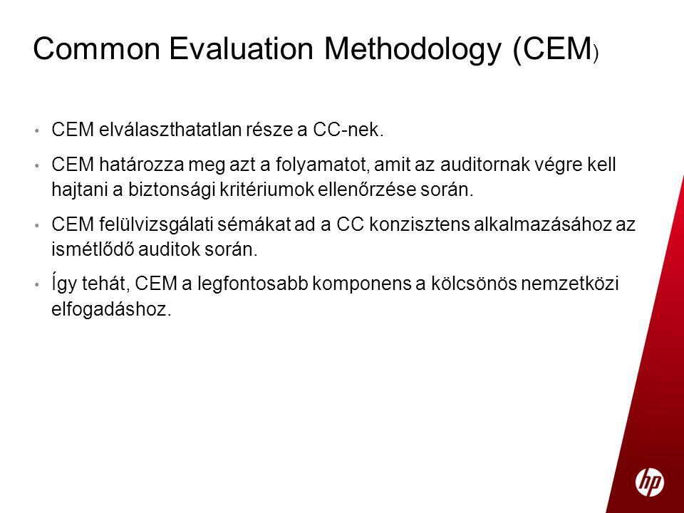 • CEM elválaszthatatlan része a CC-nek. • CEM határozza meg azt a folyamatot, amit az auditornak végre kell hajtani a biztonsági kritériumok ellenőrzé