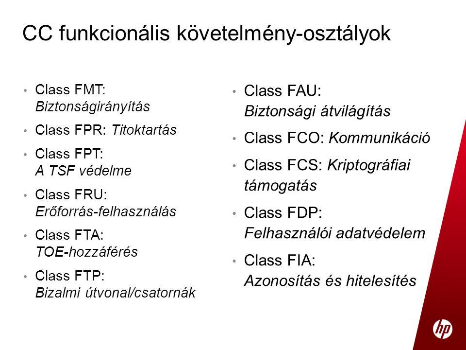 • Class FMT: Biztonságirányítás • Class FPR: Titoktartás • Class FPT: A TSF védelme • Class FRU: Erőforrás-felhasználás • Class FTA: TOE-hozzáférés •