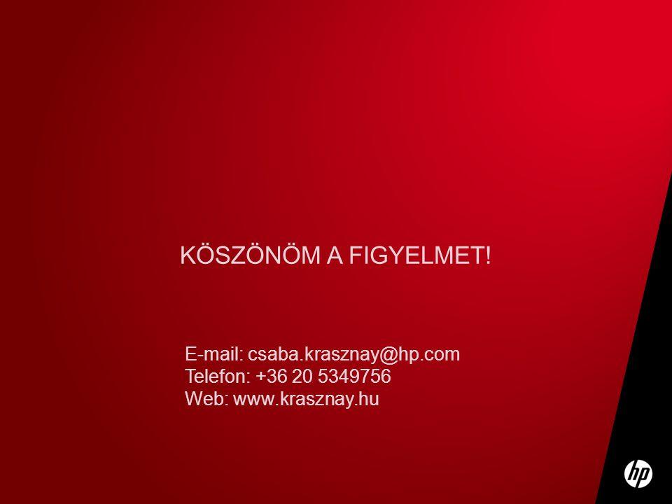 KÖSZÖNÖM A FIGYELMET! E-mail: csaba.krasznay@hp.com Telefon: +36 20 5349756 Web: www.krasznay.hu