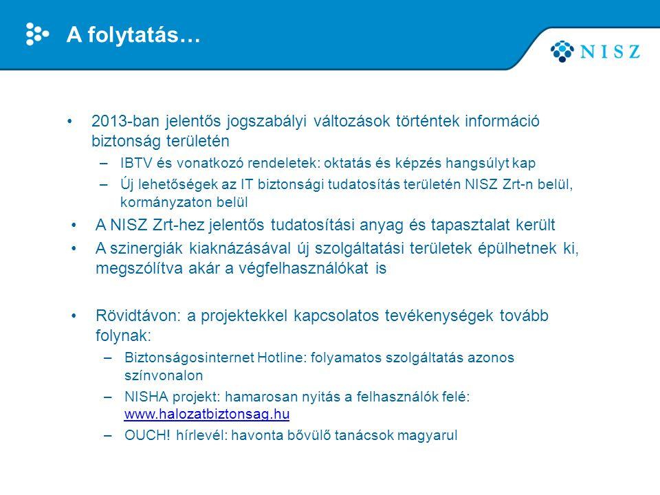 A folytatás… •2013-ban jelentős jogszabályi változások történtek információ biztonság területén –IBTV és vonatkozó rendeletek: oktatás és képzés hangs