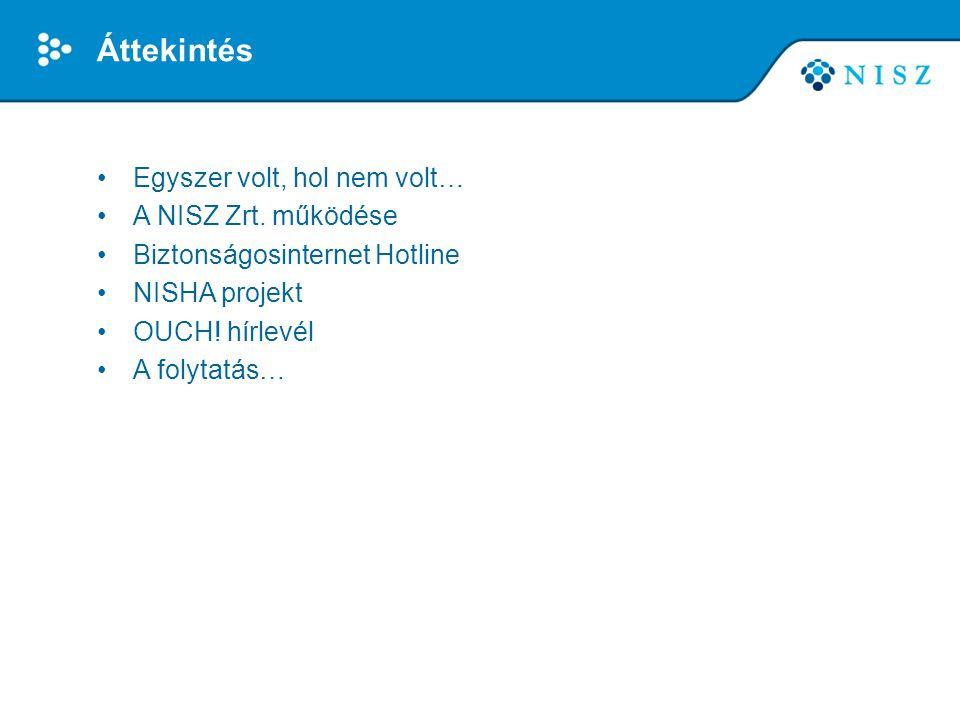 Egyszer volt, hol nem volt… •Puskás Tivadar Közalapítvány (CERT-Hungary) –információ és hálózatbiztonság, tudatosság növelés –számos nemzetközi partner, együttműködés –partner a magyar Safer Internet programban 2009 óta –Biztonságosinternet Hotline üzemeltetője 2011 óta –EU-s projektek információ megosztással kapcsolatban •1284/2013 (V.27) Kormányhatározat: megszüntetés jogutódlással •Megoldás: a NISZ Zrt.