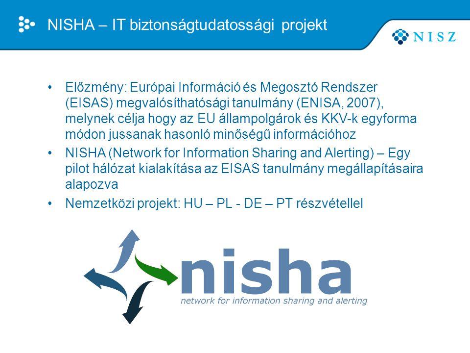 A NISHA koncepció •Küldetés: Tudatosság növelése IT biztonság területén •Célcsoportok: EU állampolgárok és KKV-k •Információ típusok: Figyelmeztetések, riasztások, legjobb gyakorlatok, tudatosságnövelő anyagok •Megfelelő formátum: Érdeklődésnek megfelelő, kevésbé technikai, anyanyelvű információ •Hatékony megosztási rendszer: Többrétű megosztási csatornák