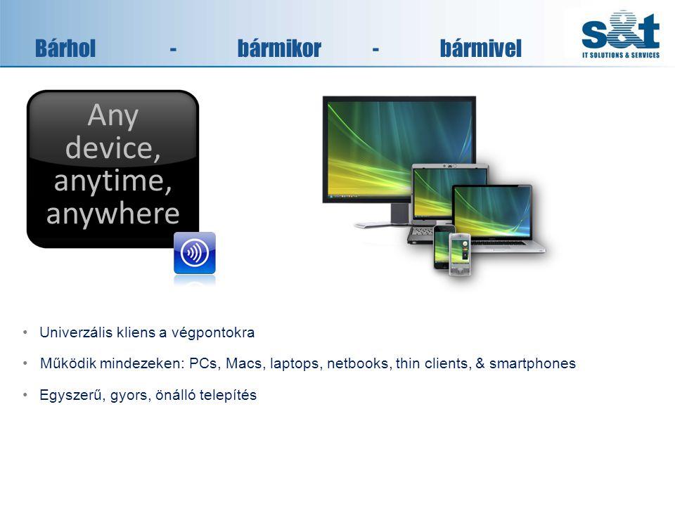 Bárhol-bármikor-bármivel •Univerzális kliens a végpontokra •Működik mindezeken: PCs, Macs, laptops, netbooks, thin clients, & smartphones •Egyszerű, gyors, önálló telepítés