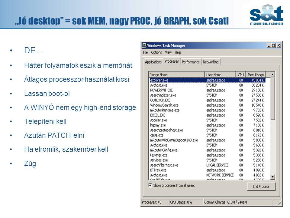 """""""Jó desktop = sok MEM, nagy PROC, jó GRAPH, sok Csati •DE..."""