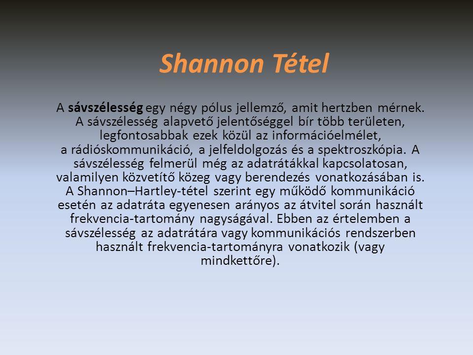 Shannon Tétel A sávszélesség egy négy pólus jellemző, amit hertzben mérnek.