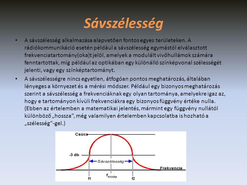 • Más meghatározások nem ennyire pontosak, és nem is utalnak arra a frekvenciára, amelynél egy függvény értéke kicsi.