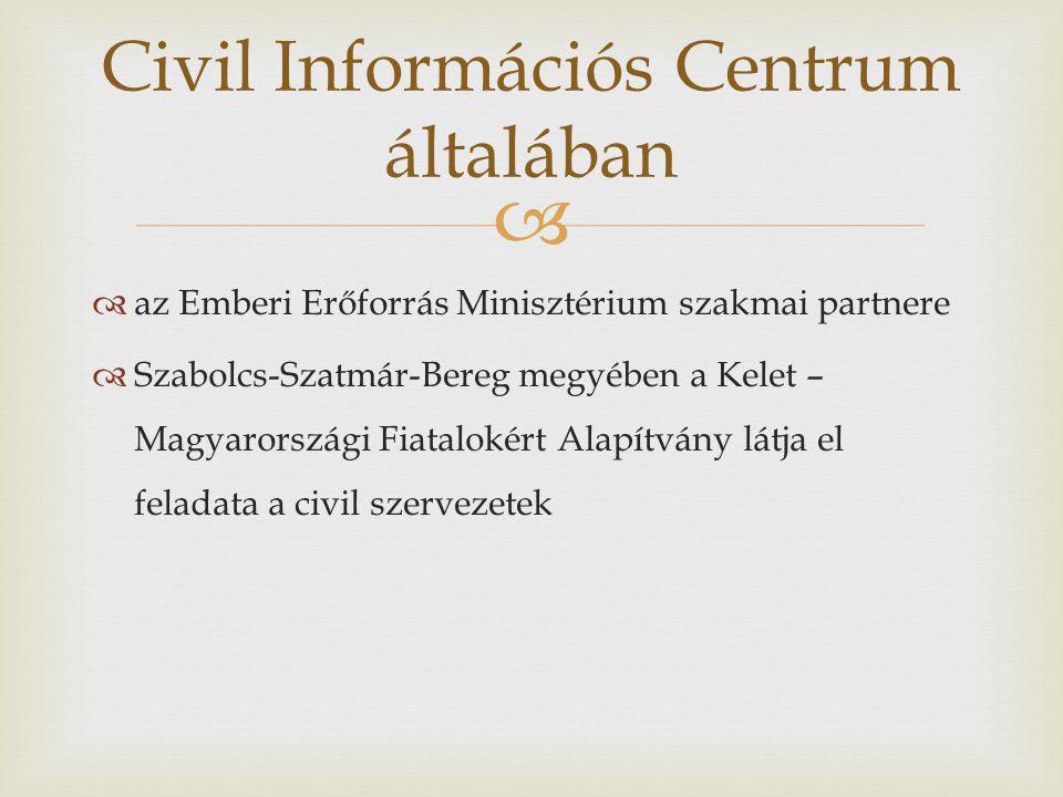   az Emberi Erőforrás Minisztérium szakmai partnere  Szabolcs-Szatmár-Bereg megyében a Kelet – Magyarországi Fiatalokért Alapítvány látja el feladata a civil szervezetek Civil Információs Centrum általában