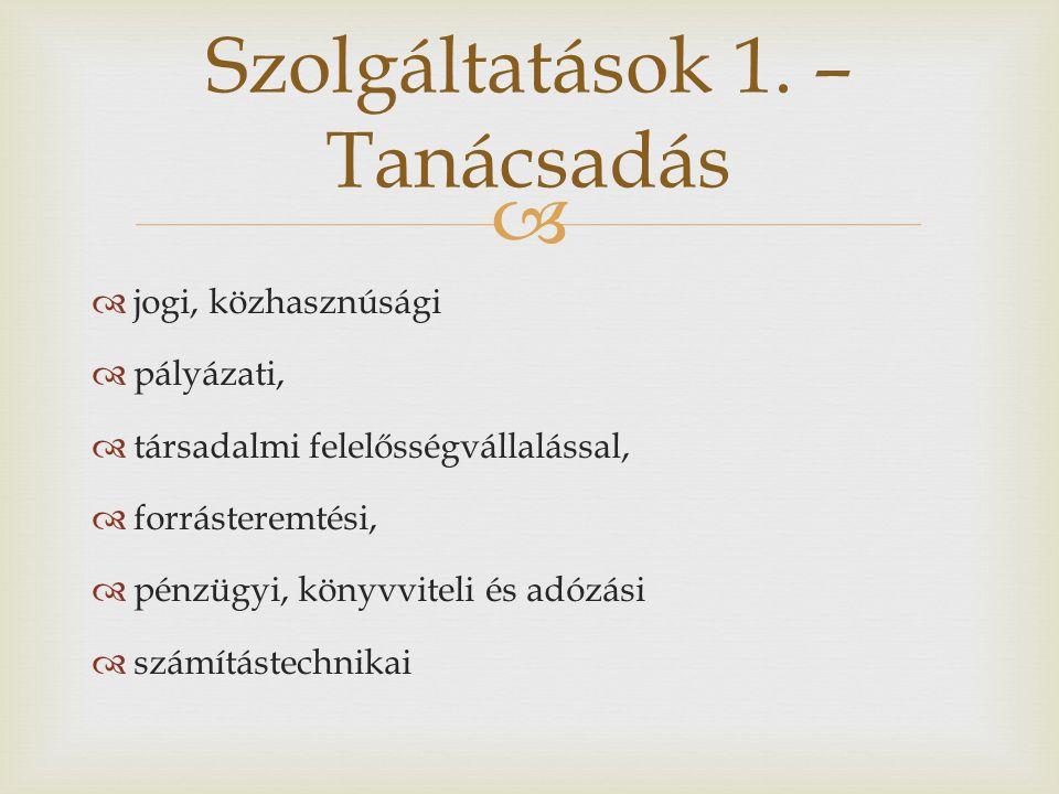   jogi, közhasznúsági  pályázati,  társadalmi felelősségvállalással,  forrásteremtési,  pénzügyi, könyvviteli és adózási  számítástechnikai Szolgáltatások 1.