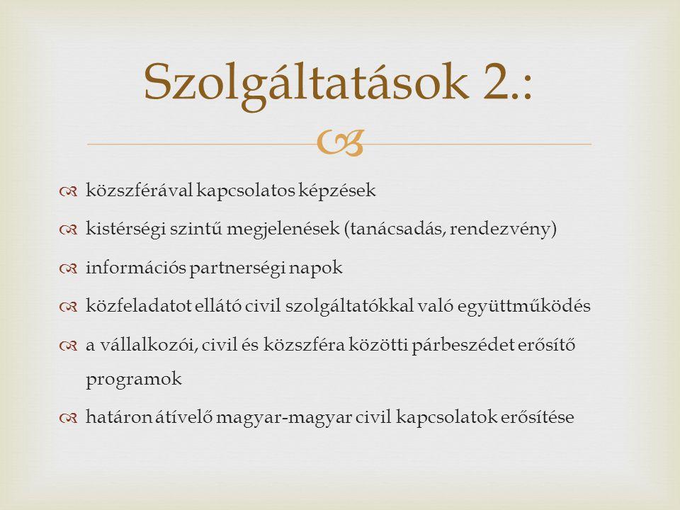   közszférával kapcsolatos képzések  kistérségi szintű megjelenések (tanácsadás, rendezvény)  információs partnerségi napok  közfeladatot ellátó civil szolgáltatókkal való együttműködés  a vállalkozói, civil és közszféra közötti párbeszédet erősítő programok  határon átívelő magyar-magyar civil kapcsolatok erősítése Szolgáltatások 2.: