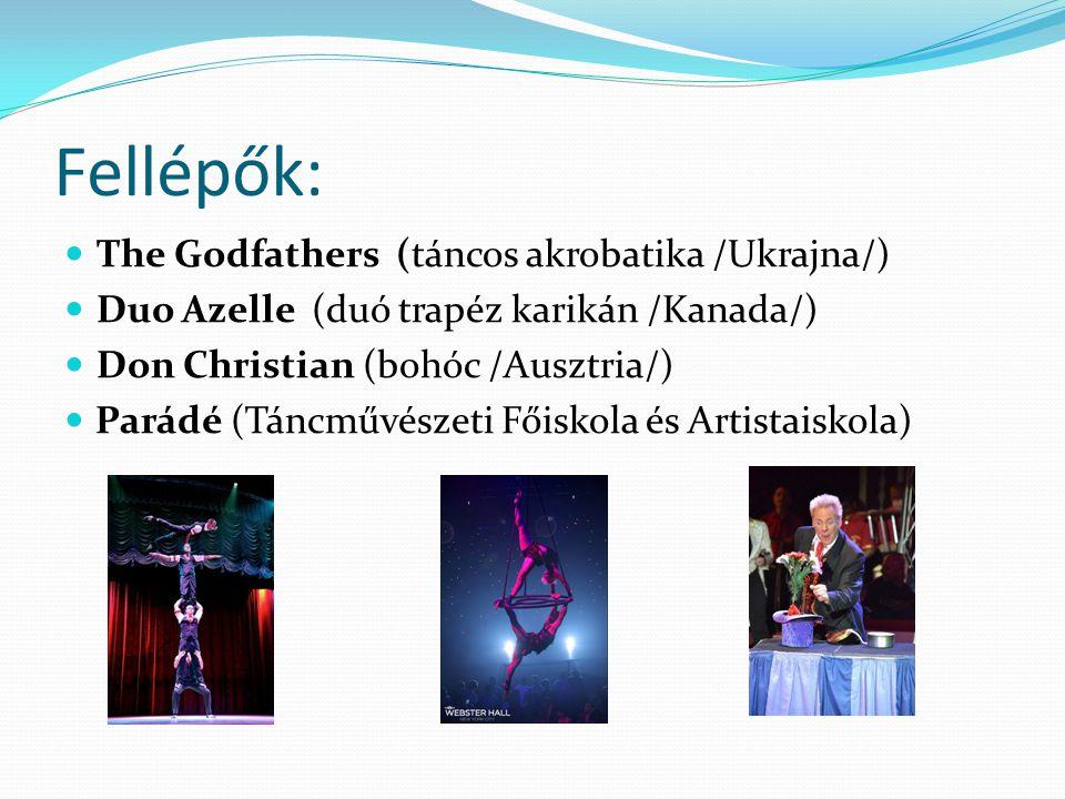 Fellépők:  The Godfathers (táncos akrobatika /Ukrajna/)  Duo Azelle (duó trapéz karikán /Kanada/)  Don Christian (bohóc /Ausztria/)  Parádé (Táncművészeti Főiskola és Artistaiskola)