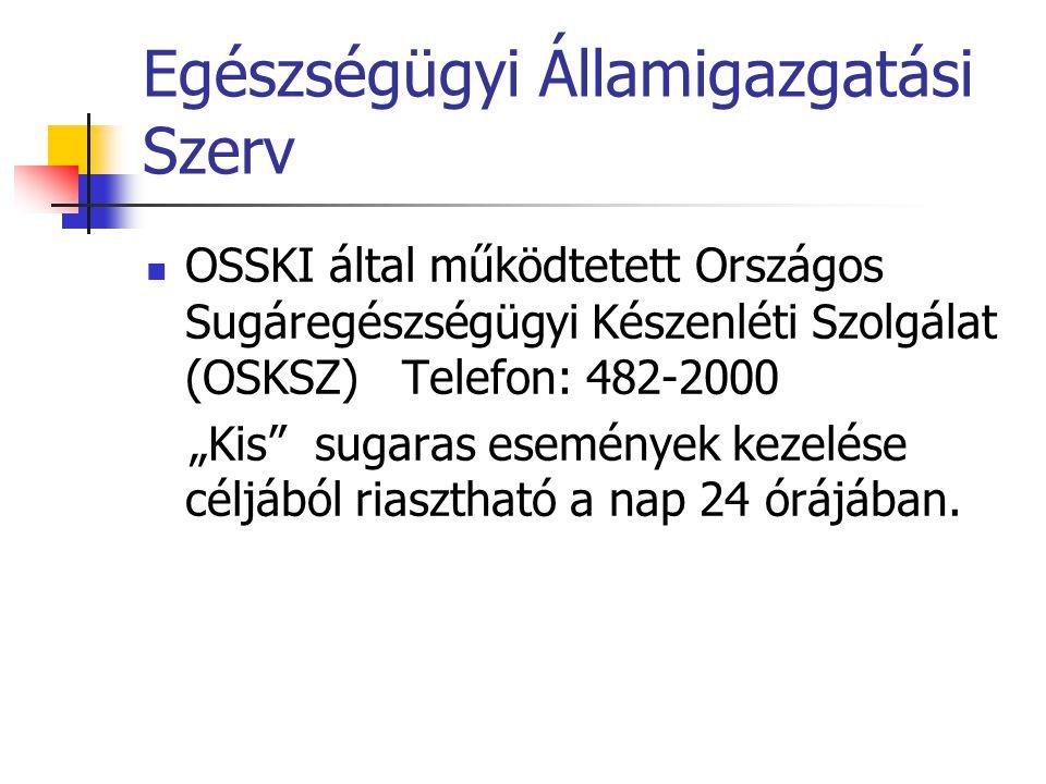 """Egészségügyi Államigazgatási Szerv  OSSKI által működtetett Országos Sugáregészségügyi Készenléti Szolgálat (OSKSZ) Telefon: 482-2000 """"Kis"""" sugaras e"""