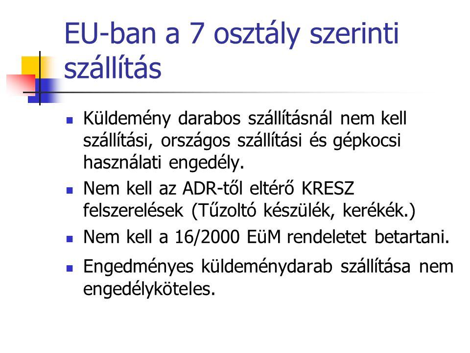 EU-ban a 7 osztály szerinti szállítás  Küldemény darabos szállításnál nem kell szállítási, országos szállítási és gépkocsi használati engedély.  Nem