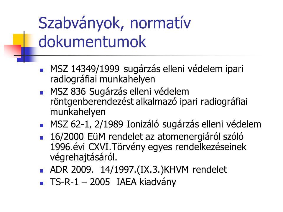 Szabványok, normatív dokumentumok  MSZ 14349/1999 sugárzás elleni védelem ipari radiográfiai munkahelyen  MSZ 836 Sugárzás elleni védelem röntgenber