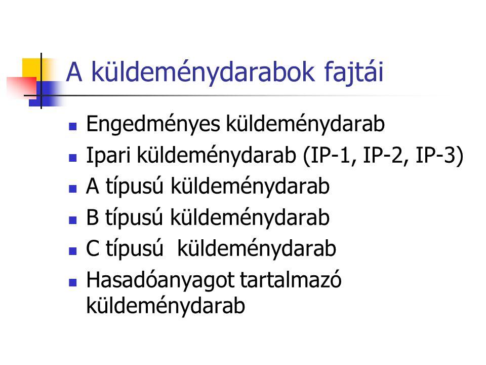 A küldeménydarabok fajtái  Engedményes küldeménydarab  Ipari küldeménydarab (IP-1, IP-2, IP-3)  A típusú küldeménydarab  B típusú küldeménydarab 