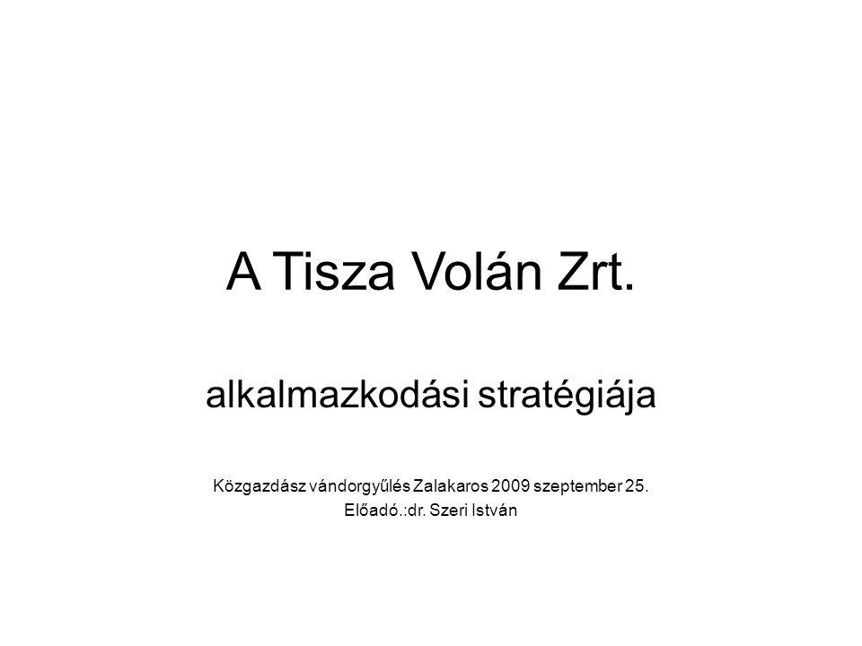 A Tisza Volán Zrt. alkalmazkodási stratégiája Közgazdász vándorgyűlés Zalakaros 2009 szeptember 25.