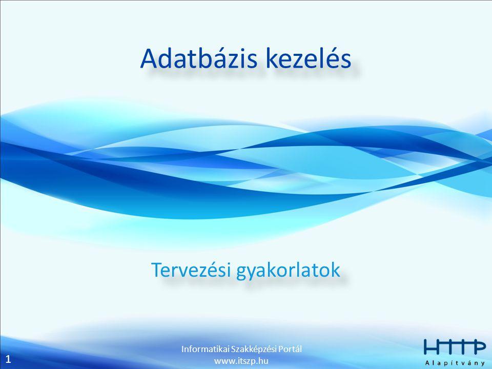 1 Informatikai Szakképzési Portál www.itszp.hu Adatbázis kezelés Tervezési gyakorlatok