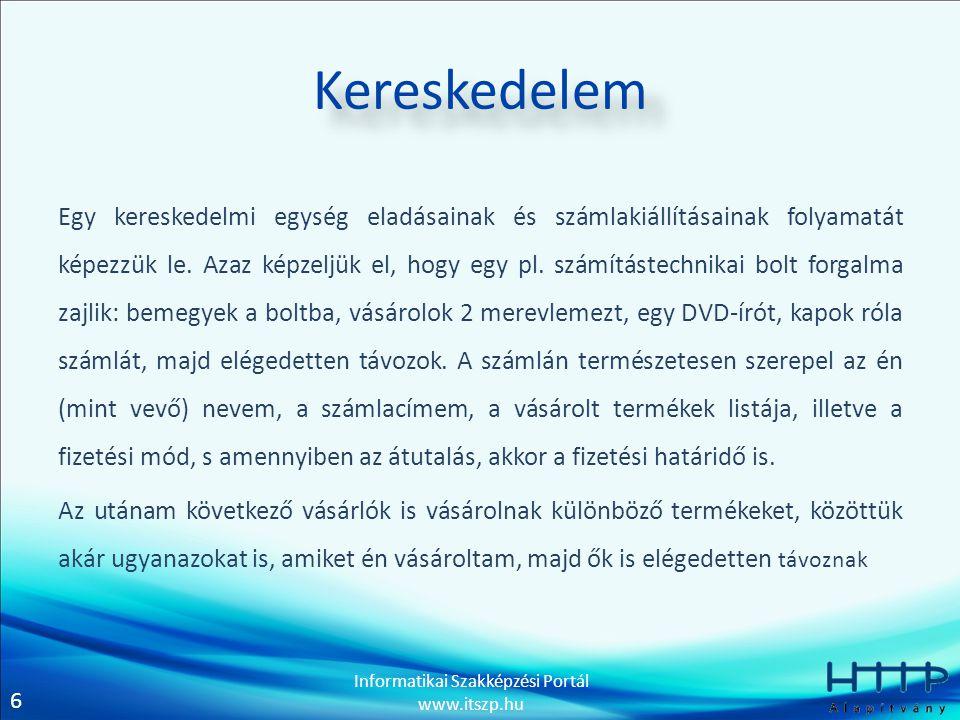 6 Informatikai Szakképzési Portál www.itszp.hu Kereskedelem Egy kereskedelmi egység eladásainak és számlakiállításainak folyamatát képezzük le.