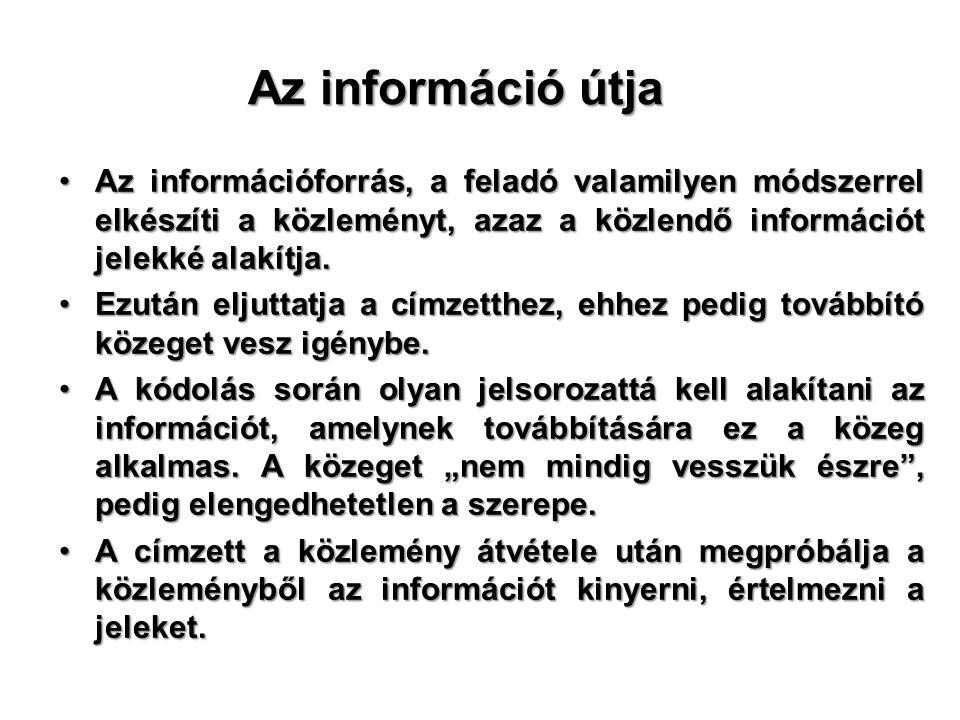Az információ útja •Az információforrás, a feladó valamilyen módszerrel elkészíti a közleményt, azaz a közlendő információt jelekké alakítja.