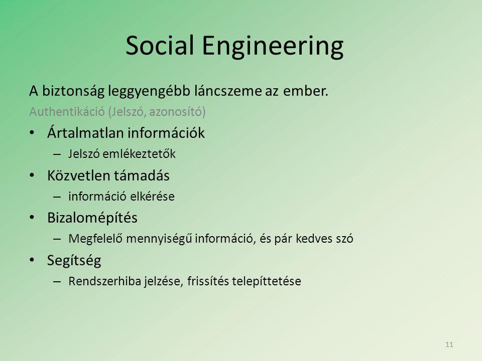 Social Engineering A biztonság leggyengébb láncszeme az ember.