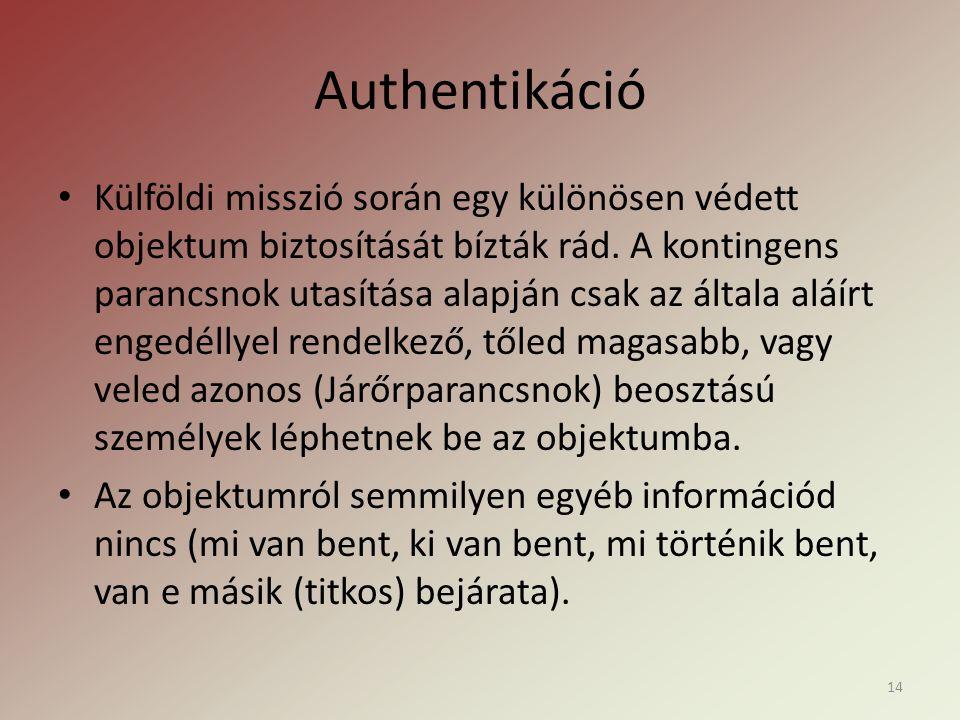 Authentikáció • Külföldi misszió során egy különösen védett objektum biztosítását bízták rád.